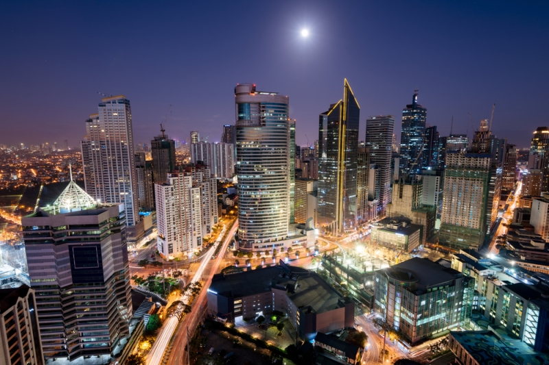 Makati City skyline at night - business district of Metro Manila
